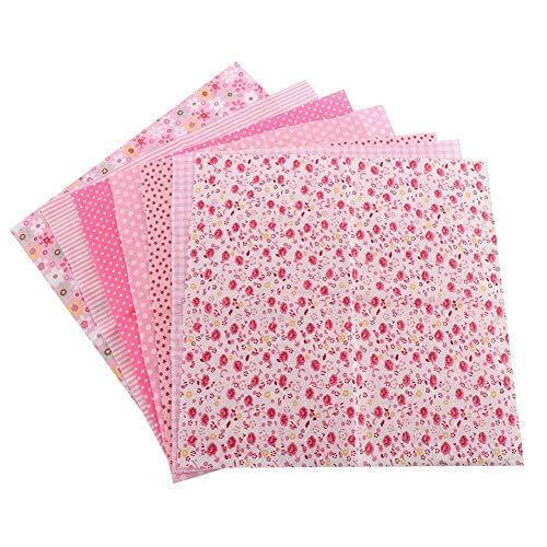 Bettwäsche-Baumwollgewebe - 7pcs 25 * 25cm Baumwollgewebe DIY sortierte Quadrate vorgeschnittene Bettwäsche-Reihen-Viertel-Bündel (Rosa)
