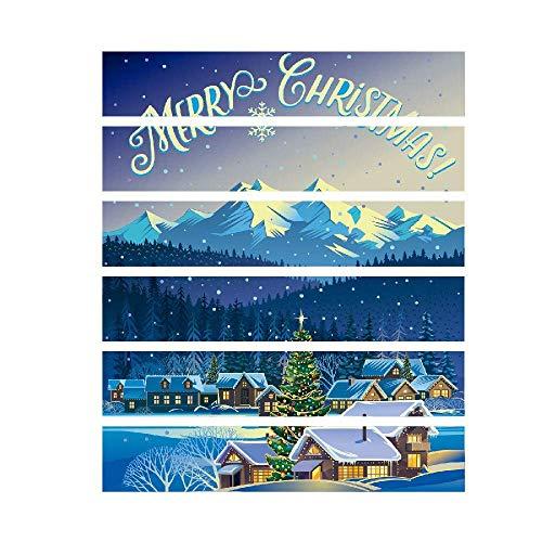 Qiusa 6D Weihnachtsdekor, DIY Wohnkultur Treppen Wandaufkleber Selbstklebende Tür Wandtattoo Ornament Handwerk ()
