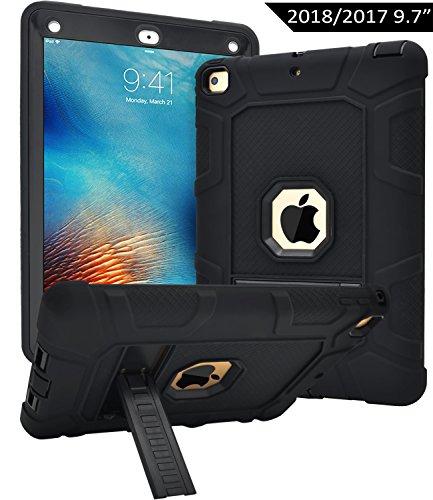 iPad 9.7 2017/2018 Hülle,Dailylux Cover für Neue iPad 2017/2018 9,7 Zoll,3in1 Silikon + PC Shockproof Anti-Scratch Schwere Schutzhülle mit Kickstand für iPad 9,7 Zoll 2017/2018 (Model A1822 A1823)-Schwarz
