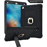 Dailylux Funda para Nuevo iPad 9.7 ulgada 2017/2018 Esquina Parachoques Amplificación de Sonido Protección de Alta Resistencia y Protector Incorporado de Pantalla para Apple iPad 9,7 pulgada 2017/2018-negro