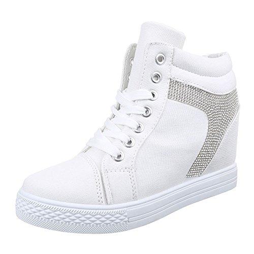 Ital-Design - Pantofole a Stivaletto Donna , Bianco (bianco),