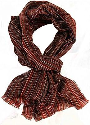 bufanda verano bufanda tejida azul de moda bufanda de rayas 100% lana negro (Merino)