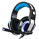 Auriculares Gaming Bovon PC Cascos de Juego USB 3.5mm Jack con Micrófono Control de Volumen Sonido envolvente Cancelación de Ruido Estéreo Audífonos Diadema Luz LED para PS4 Xbox One PC Computador (Azul)