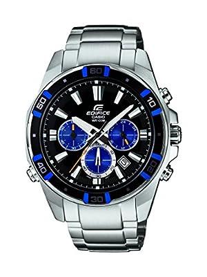 Casio Edifice - Reloj de cuarzo para hombre, con correa de acero inoxidable, color plateado de Casio