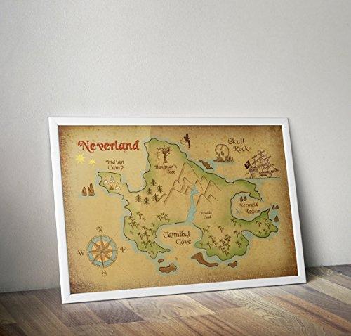 Neverland Karte - Peter Pan - Alternative TV/Movie Prints in verschiedenen Größen (Rahmen nicht im Lieferumfang enthalten) -