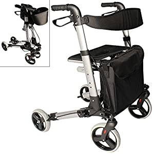 Lightweight aluminium folding 4 wheel rollator walking frame with seat and bag