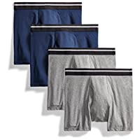 Goodthreads Men's 4-Pack Tag-Free Boxer Briefs, Charcoal/Dark Navy, Medium