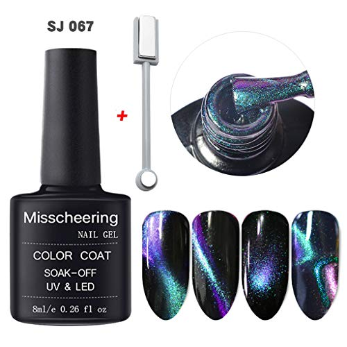 Vernis à Ongles Gel,Brillant 5D d'aimant de gel d'ongle de chat d'oeil magique imprègne le Gel UV LED Bringbring