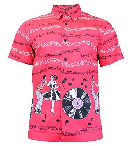 Dancing Days by Banned - Herren Rockabilly Hawaiihemd - Empower Hemd Kurzarm Pink
