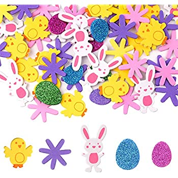 SPECOOL Happy Easter Decorations DIY Easter Crafts Color 1 Bunny Rabbit Flower Easter Eggs 60pcs Wooden Hanging Pendant Ornaments for Tree