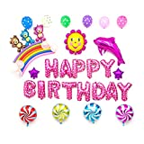 Sipobuy HAPPY BIRTHDAY BUON COMPLEANNO Foglia di alluminio Mylar Air filled Balloons Kit decorazioni per il compleanno / festa / anniversario del bambino, orso rosa per la ragazza