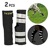 Hcpet Dog Leg Brace, 1 Pair Leg Hock Joint Wrap Protects with Safety Reflective Straps for Injury and Sprain Protection, Wound Healing and Loss of Stability from Arthritis (XS)