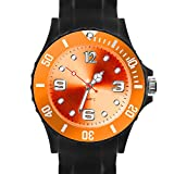 Taffstyle Damen Herren Sportuhr Armbanduhr Silikon Sport Watch Farbige Krone Analog Quarz Uhr 39mm Schwarz Orange