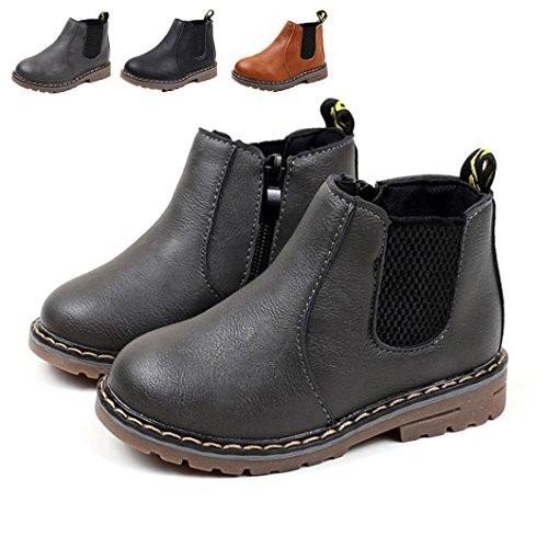 Baby Schuhe, Chickwin Baby Stiefe Kinderschuhe Unisex Weich Und Bequem Rutschfest Warme weiche Winterschuhe Leder Schneestiefel (29 / Maß Innen (cm) 17.7, Grau)