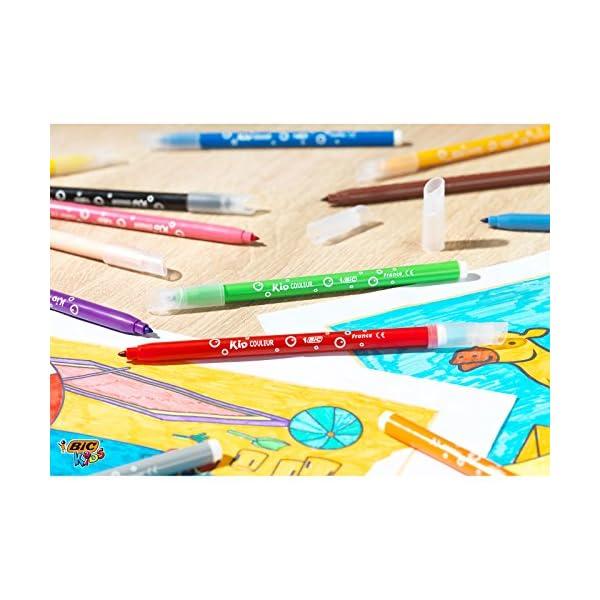 BIC Kids Kit para Colorear – 18Lápices de colores, 12rotuladores de colores, Estuche de Plástico de 30
