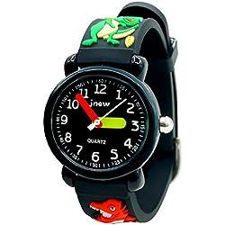 JNEW - Niños Reloj Resistente al Agua para Niños Negro Dibujo de Dragón Reloj de Pulsera Analógico de Cuarzo Reloj Infantil Cute Watch for Boys