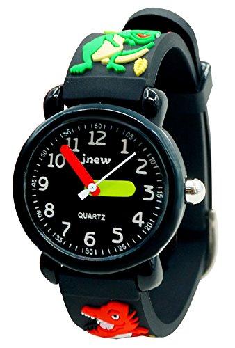 JNEW Kinder Armbanduhr Jungen Uhren Kleinkind Wasserdicht Lernuhr 3D Silikon Armband Cute Cartoon Studentenuhren für 3-10 Jahre Alt