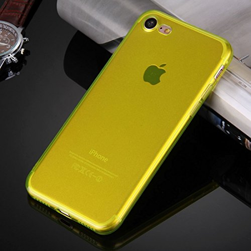 GHC Cases & Covers, Für iPhone 7 0.5mm ultra-dünner dunkler Farben-transparenter TPU schützender Fall ( Color : Black ) Yellow
