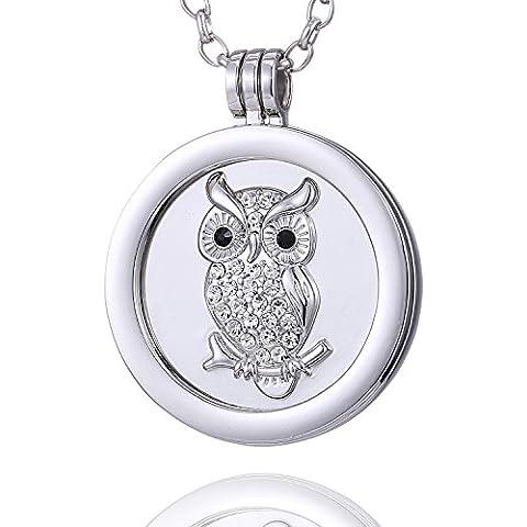 Morella Collana donna 70 cm acciaio inossidabile con Coins Moneta amuleto ciondolo rotondo 33 mm in sacchetto di velluto