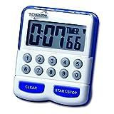 TFA Dostmann 38.2010 Elektronische timer en stopwatch, digitale kookwekker, keukentimer, wit/blauw