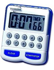 TFA Dostmann Elektronischer Timer und Stoppuhr, Kurzzeitmesser digital, Küchentimer, weiß/blau, 38.2010