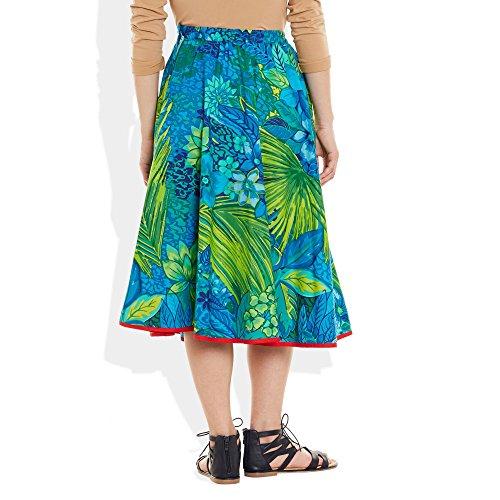 Damen Bekleidung Baumwolle gedruckt mittellanger Rock aLinie Blue 3 7cac39d739
