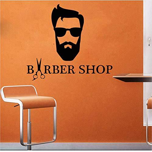 Whwd 64X57 Cm Hipster Frisur Wandtattoo Mann Barbershop Vinyl Aufkleber Mode Brille Fenster Vinyl Aufkleber Haarschnitt Bart Gesicht Salon