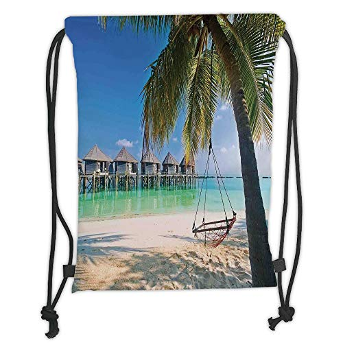 Fashion Printed Drawstring Backpacks Bags,Tropical,Hammock under Palm Leaves in Golden Heaven Beach in Paradise Caribbean Peace Sun Print Decorative,Multi Soft Satin,5 Liter Capacity,Adjustable St