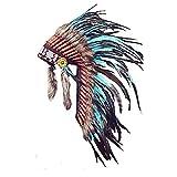 Y33 - Sombrero Indio mediano de color Turquesa / penacho / tocado de plumas