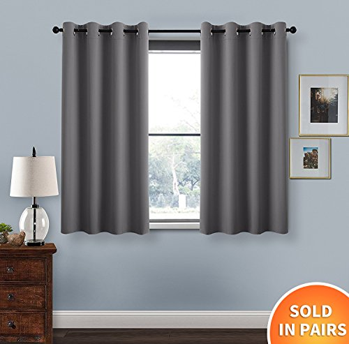 Curtains Panels   PONY DANCE  52 Width x 54 Drop  Grey  Double  Panels Thermal Insulated Window Treatment Blackout Room Darkening Drapes  for BedroomShort Curtains for Bedroom  Amazon co uk. Short Curtains For Bedroom. Home Design Ideas