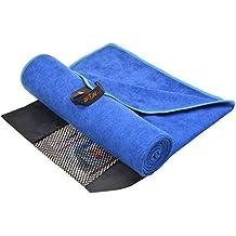 SUNLAND Gimnasio de toallas ultra absorbentes Viajes Deportes microfibra Toallas Toalla Yoga/ Bolsa (azul oscuro 80cmx150cm)