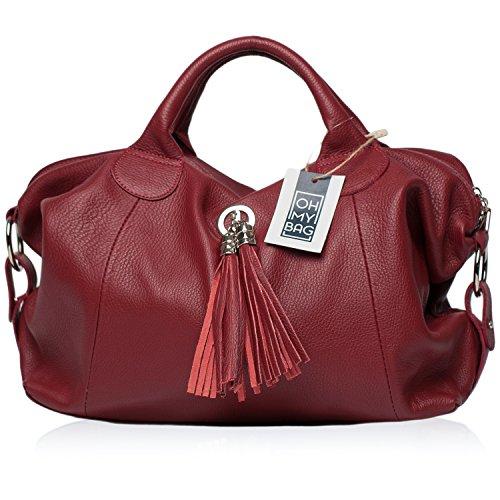 OH MY BAG Sac à Main en CUIR grainé femme porté main et bandoulière Modèle Chambord Nouvelle collection ROUGE FONCE