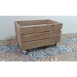 caja de madera fruta pino envejecida con ruedas 50x30x32 rueda tipo industrias muy resistentes