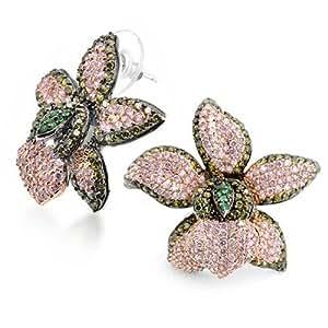 Bling Jewelry CZ Peridot Colore Rosa Orchidea Fiore Pave Orecchini