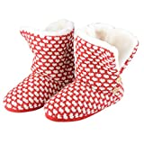 Womens Liana Knitted Slipper Boots Cosy Faux Fur Lining Non Slip Sole UK 3-8