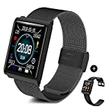TECKEPIC Fitness Tracker Color Full Touch Screen Activity Tracker Heart Rate Blood Pressure Monitor Wristband Bluetooth Calorie Counter Sports Watch Pedometer Smart Bracelet (Black)