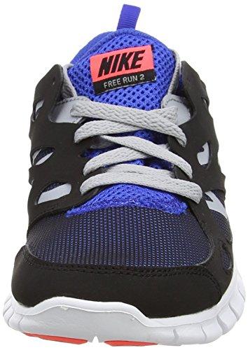Nike Free Run 2 (Gs), Chaussures de running mixte enfant Noir - Schwarz (Black/Hot Lava-Game Royal)
