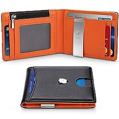 Idea Regalo - Portafoglio Uomo Vera Pelle Blocco RFID con fermasoldi, Piccolo Portafogli con tessere tascabile documenti, porta carte di credito, finestra di ID. Portafoglio con confezione regalo -Nero e arancione