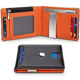 c76e32c90c Portafoglio Uomo Vera Pelle Blocco RFID con fermasoldi, Piccolo Portafogli  con tessere tascabile documenti, ...
