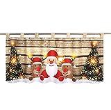 Delindo Lifestyle LED Scheibengardine Christmas Team für Das Kinderzimmer, Beleuchtete Bistrogardine, 45x120 cm, Moderne Gardine zu Weihnachten