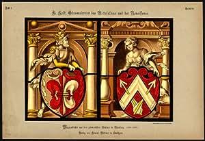 Imprimé Antique Motif vitrail-Blason WELF NURNBERG-- --- 54 Kolb Gatternicht - 1884
