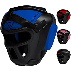 RDX Zero Impact Grill-X Leder Abnehmbarer Gesichtsschutz Kopfschutz, Blau, S