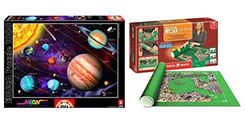 Pack Puzzle Educa 14461. Sistema Solar en Neon (brilla en la oscuridad). 1000 piezas + Tapete universal Puzzle Roll 2000 piezas