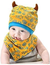 Happy Cherry Gorro con Babero Triangular Diseño de Monstruito con Doble Cuerno Para Bebé Niño Niña Recién Nacidos (3 - 24 meses)- Conjunto de 2 Piezas Infantil - Color Azul
