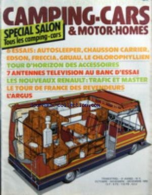 CAMPING CARS ET MOTOR HOMES [No 5] du 01/10/1980 - SPECIAL SALON - 6 ESSAIS - TOUR D'HORIZON DES ACCESSOIRES - 7 ANTENNES TELE - LES NOUVEAUX RENAULT / TRAFIC ET MASTER - LE TOUR DE FRANCE DES REVENDEURS - L'ARGUS