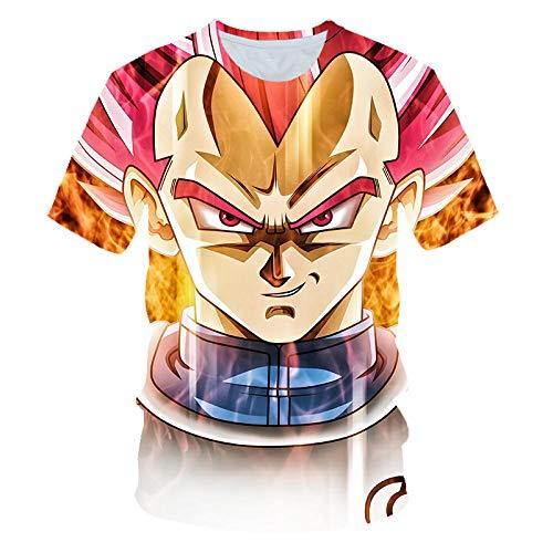 T-Shirt,Dragon Ball Muster 3D Digitaldruck Large Size Herren T-Shirt, Unisex Saiyajin Muster Kurzarm Top @ 6XL_Dragon_Ball_Z -