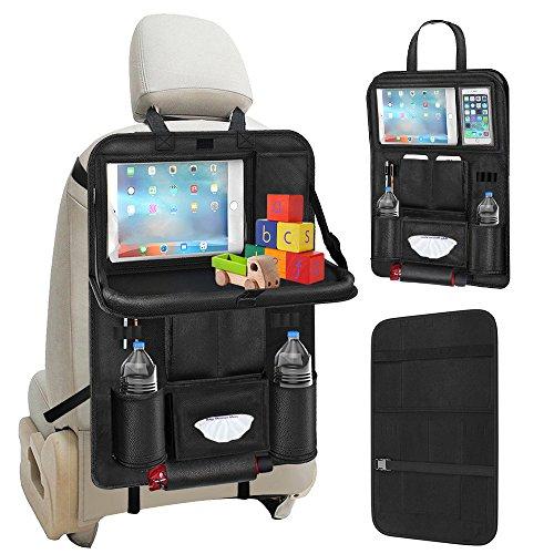 Auto Rücksitz Organisator, Galopar Multifunktionsbett Organisator Auto Speicher Auto Rücksitz Schutz mit Mehrfachtaschen Tabletten Halter Faltender Speisentablett Auto Aufräumung für Kinder (1 Pack)