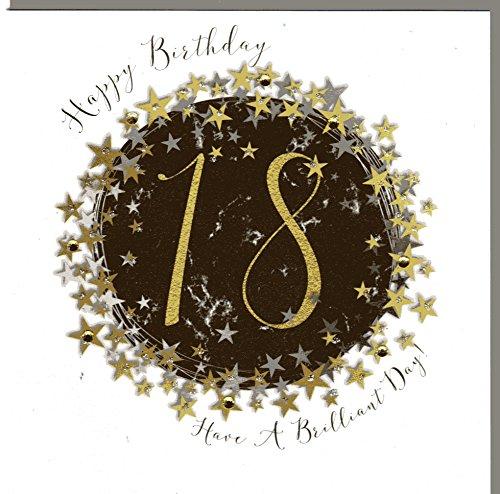 Wendy Jones-Blackett Glückwunschkarte zum 18. Geburtstag veredelt mit Kristallen und Glitter. Eine sehr hochwertige und originelle Geburtstagskarte, auch für Geschenkgutschein oder Geldgeschenk. WP090