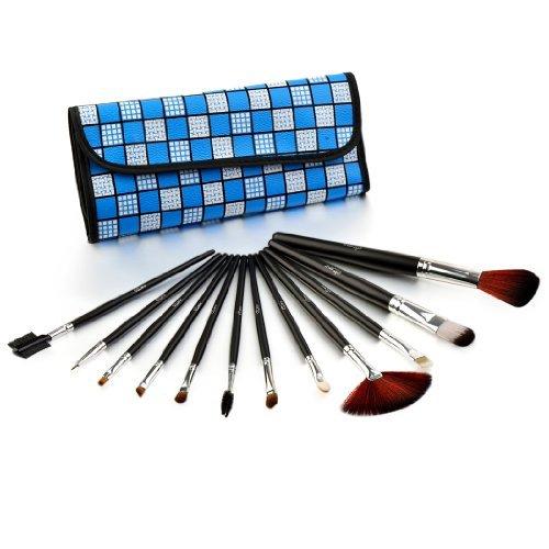 Glow 12 pinceaux maquillage trousse, cocher bleu