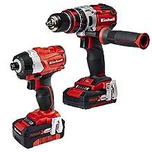 Einhell 4257216 Brushless Set Utensili, Sistema a Batteria Power X-Change, 2.0 Ah, 18 V, Rosso, Nero